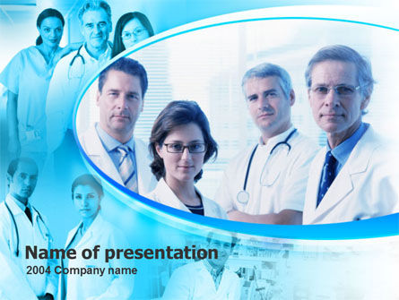 Medical: Plantilla de PowerPoint - retrato de personal médico en colores azules #00096