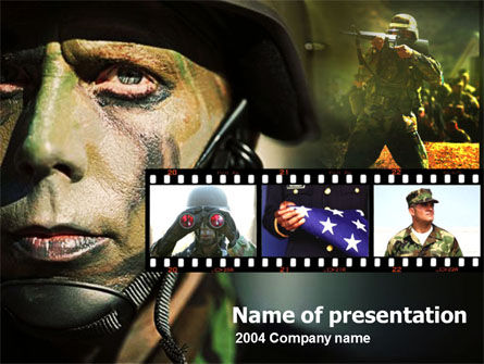 Military: Amerikaanse Soldaat PowerPoint Template #00109