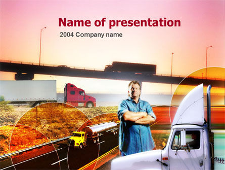 Cars and Transportation: Truck Driver PowerPoint Template #00139