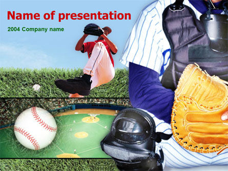 Sports: Baseball Catcher PowerPoint Template #00142