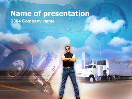 Cars and Transportation: Truck Driving PowerPoint Template #00144