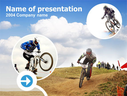 Mountain Biker Free PowerPoint Template, 00146, Sports — PoweredTemplate.com