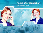 Telecommunication: Templat PowerPoint Gratis Operator Call Center #00164