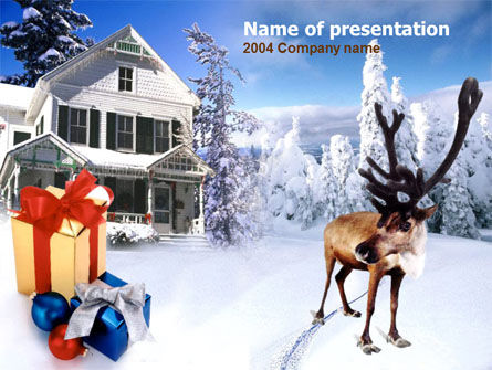 Christmas Deer PowerPoint Template, 00174, Holiday/Special Occasion — PoweredTemplate.com