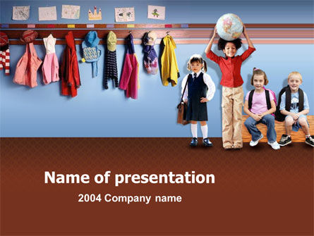 Little Pupils In Kindergarten PowerPoint Template
