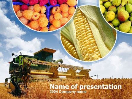 Corn Harvester PowerPoint Template, 00188, Agriculture — PoweredTemplate.com