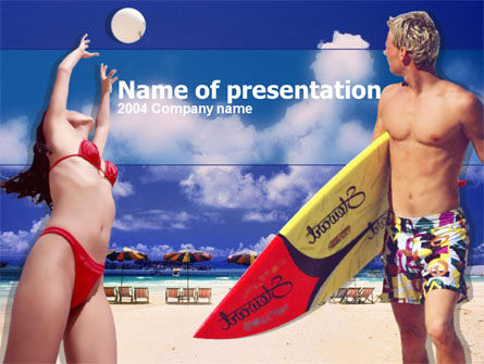 Surfing Beach Free PowerPoint Template, 00201, Sports — PoweredTemplate.com
