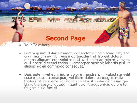Surfing Beach Free PowerPoint Template, Slide 2, 00201, Sports — PoweredTemplate.com