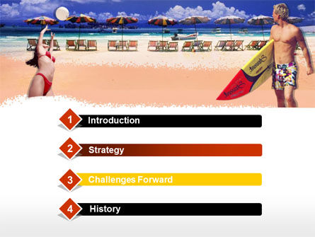 Surfing Beach Free PowerPoint Template, Slide 3, 00201, Sports — PoweredTemplate.com