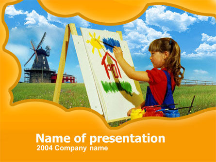 Education & Training: Little Girl Drawing PowerPoint Template #00228