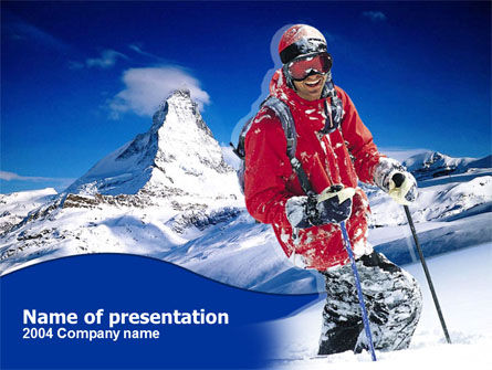 Careers/Industry: Mountain Skiing PowerPoint Template #00234
