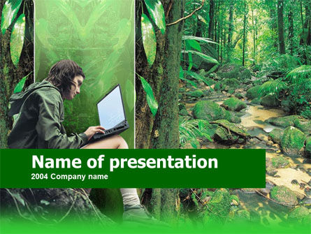 Laptop Outside PowerPoint Template, 00235, Education & Training — PoweredTemplate.com