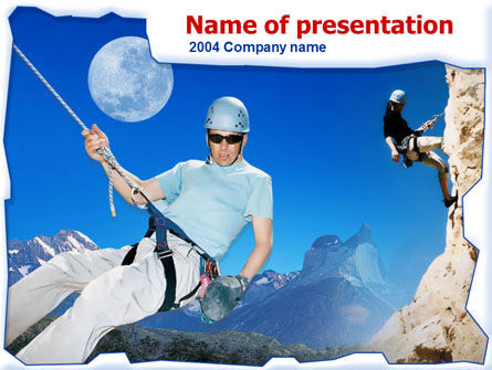 Rock Climbing PowerPoint Template, 00249, Sports — PoweredTemplate.com