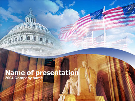 America: United States Capitol With Lincoln Memorial PowerPoint Template #00254
