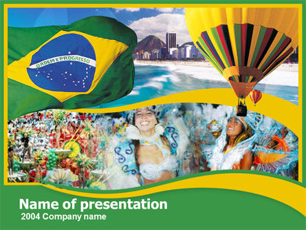 Flags/International: Templat PowerPoint Brazil #00259