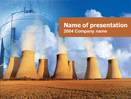 Thermoelectric Power Station PowerPoint Template, 00262, Careers/Industry — PoweredTemplate.com