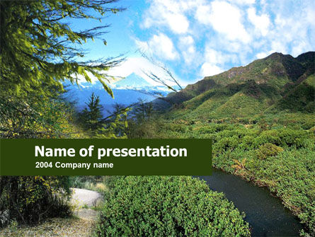 Nature & Environment: Mountain Valley PowerPoint Template #00269