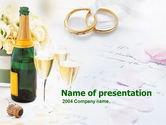 Holiday/Special Occasion: Wedding Rings And Champagne PowerPoint Template #00281