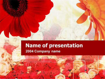 Holiday/Special Occasion: Red Flowers PowerPoint Template #00282