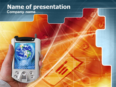 Technology and Science: Portable Communicator PowerPoint Template #00285