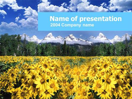 Alpine Flowering Meadows PowerPoint Template, 00295, Nature & Environment — PoweredTemplate.com