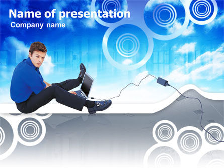 Business: Student With Laptop Free PowerPoint Template #00318