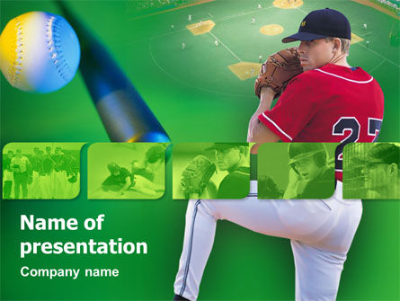 Sports: Starting Pitcher PowerPoint Template #00319