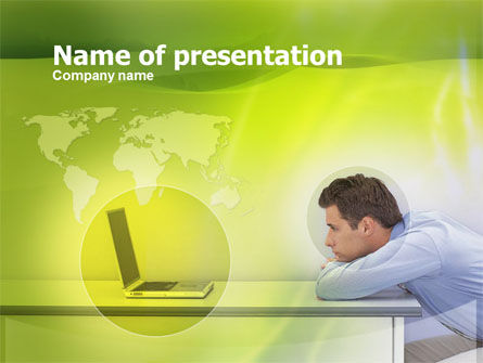 Man And Laptop PowerPoint Template, 00329, Global — PoweredTemplate.com