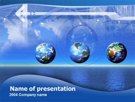 Globes Over The Sea PowerPoint Template, 00332, Global — PoweredTemplate.com