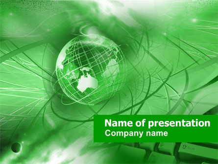 Globe in Communications Net PowerPoint Template, 00350, Abstract/Textures — PoweredTemplate.com