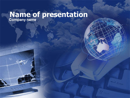Telecommunication in Blue Color PowerPoint Template, 00352, Technology and Science — PoweredTemplate.com