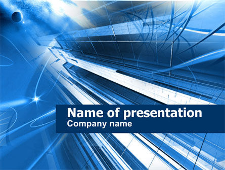 Blue Cable and Wires PowerPoint Template