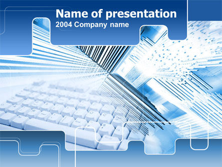 Blue Computer Keyboard PowerPoint Template