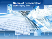 Abstract/Textures: Blue Computer Keyboard PowerPoint Template #00358