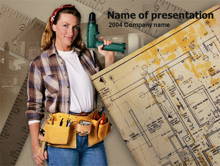 Woman at Work PowerPoint Template, 00372, Construction — PoweredTemplate.com