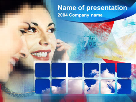 Telecommunication: Telefoon Praten PowerPoint Template #00377
