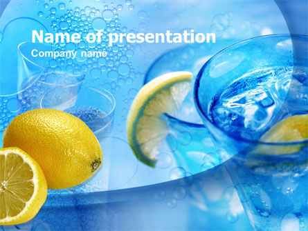 Food & Beverage: Templat PowerPoint Air Mineral Dengan Lemon #00381