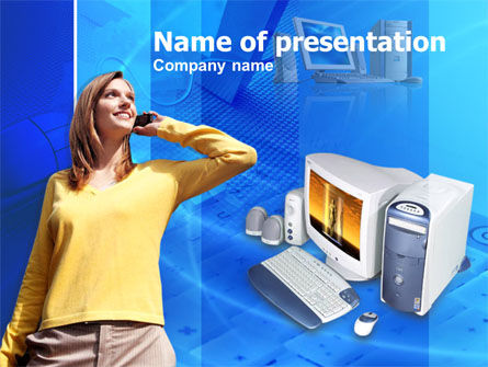 IP Telephony Free PowerPoint Template, 00392, Technology and Science — PoweredTemplate.com