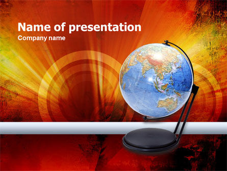 Globe On The Dark Red PowerPoint Template