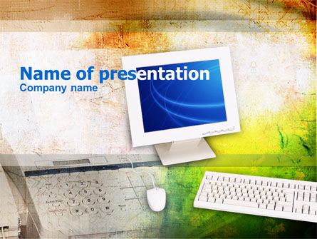 Technology and Science: Office Werkplek PowerPoint Template #00402