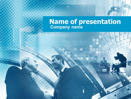 Business Meeting In Blue Colors PowerPoint Template, 00410, Business Concepts — PoweredTemplate.com