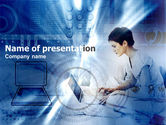Technology and Science: Girl On The Laptop PowerPoint Template #00422