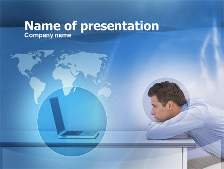 Computer And Man PowerPoint Template, 00435, Global — PoweredTemplate.com