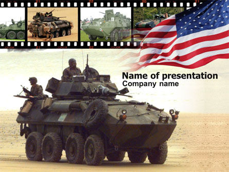 Military: LAV-25 LAV-AD Blazer turret PowerPoint Template #00436