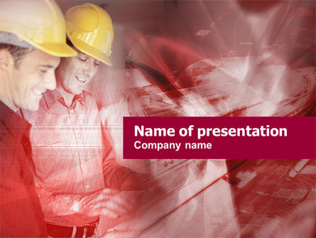 Utilities/Industrial: Meeting Builders' In Karmozijnrode Kleuren PowerPoint Template #00446