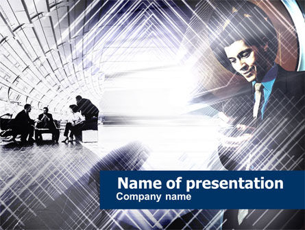 Business Meeting In A Hall PowerPoint Template