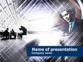 Business: Business Meeting In A Hall PowerPoint Template #00447