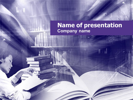 Library in Violet PowerPoint Template, 00453, Education & Training — PoweredTemplate.com