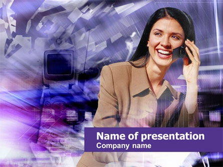 Business Lady Speaking Free PowerPoint Template, 00459, Business — PoweredTemplate.com