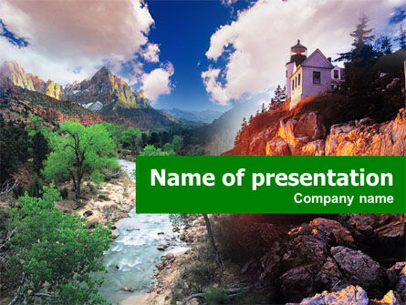 House in Mountains PowerPoint Template, 00473, Nature & Environment — PoweredTemplate.com
